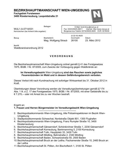 Verordnung - Gramatneusiedl