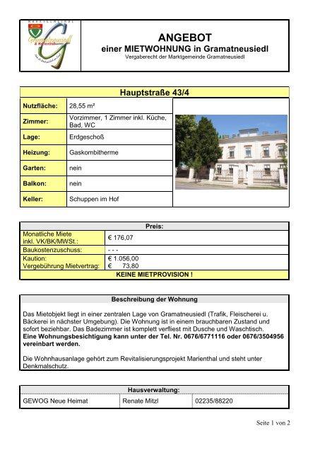 Mietwohnung Hauptstraße 43/4 - Gramatneusiedl