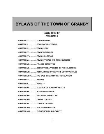 BYLAWS OF THE TOWN OF GRANBY CONTENTS - Granby, MA