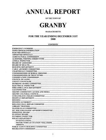 ANNUAL REPORT - Granby, MA