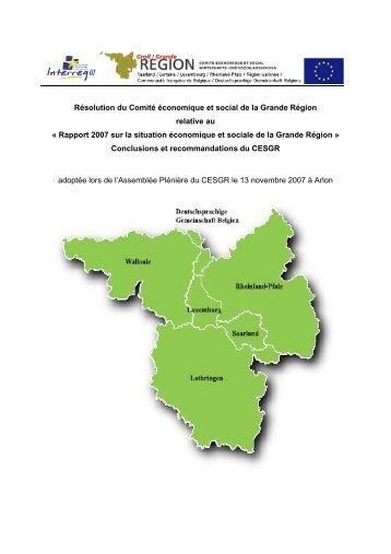10e Sommet CESGR - « Rapport 2007 sur la ... - Grande Région