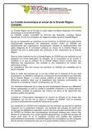 Le Comité économique et social de la Grande Région (CESGR)
