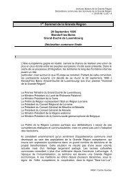 1er Sommet de la Grande Région : déclaration commune ( 20 ...