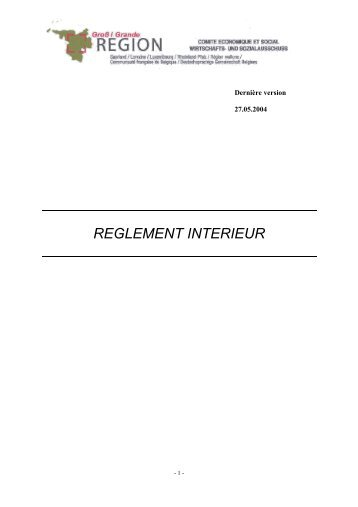 règlement intérieur - Grande Région