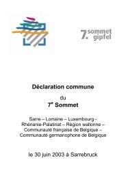 déclaration commune - Grande Région