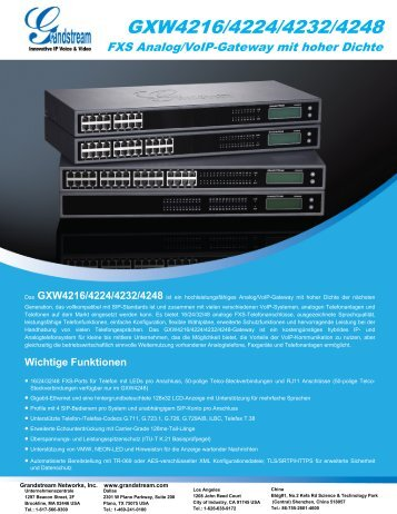 GXW4216/4224/4232/4248 - Grandstream Networks