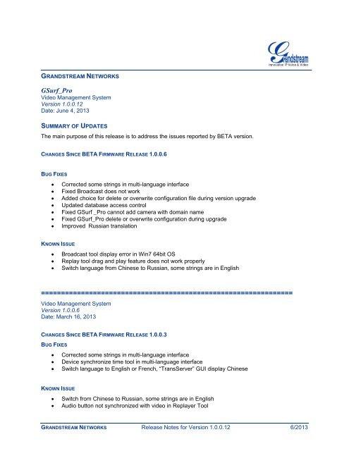 Download GSurf Pro Software Release Notes - Grandstream Networks