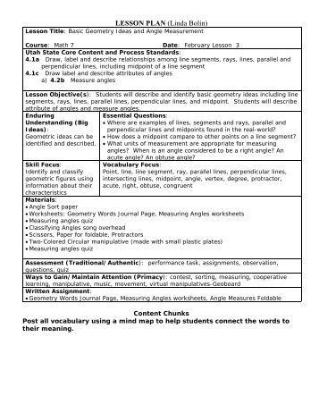 LESSON PLAN (Linda Bolin) - Granite School District