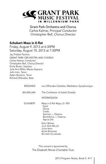 Grant Park Orchestra and Chorus Carlos Kalmar, Principal ...