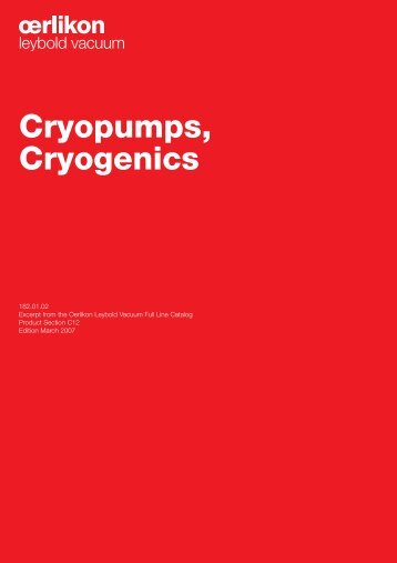 Cryopumps, Cryogenics - Granzow