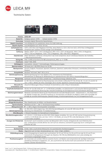Daten Leica M9 - GraphicArt AG
