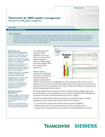 Teamcenter for SRM supplier management