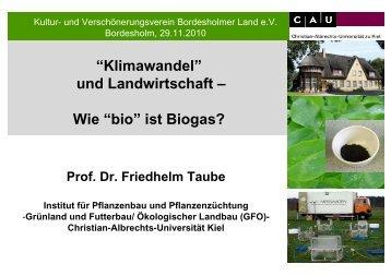 """Wie """"bio"""" ist Biogas? - Grünland und Futterbau/Ökologischer Landbau"""