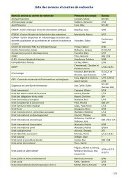 Liste des services et centres de recherche