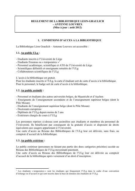 Carte Belgique Enseignement.Reglement Louvrex Bibliotheque Graulich Universite De Liege