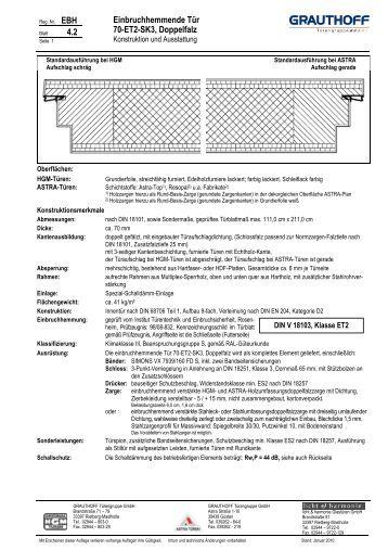 Einbruchhemmende tür  3.1 Einbruchhemmende Tür 40-WK2, 40-WK2-SK1 und ... - Grauthoff