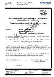 Werksbescheinigung für Rauchschutztüren - Grauthoff