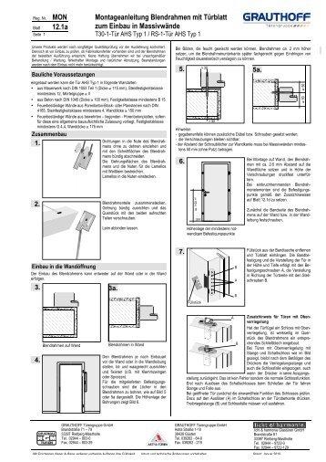 Brandneu 2 1 Einbauanleitung Blendrahmen Mit Tuerblatt Und Grauthoff