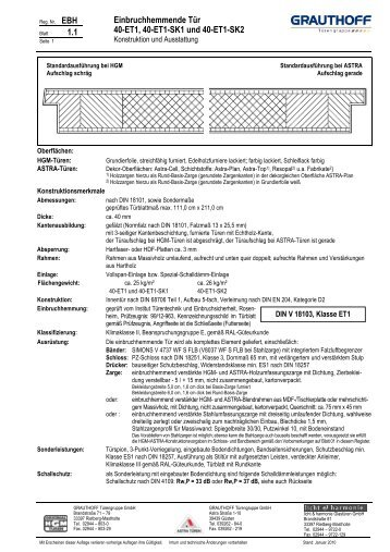 Einbruchhemmende tür  5.1 Einbruchhemmende Tür 55-WK3, 55-WK3-SK1 und ... - Grauthoff