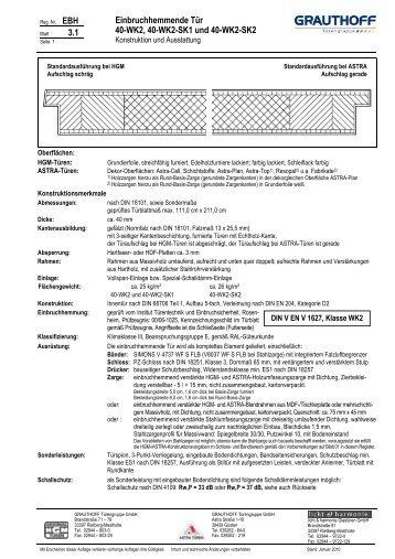 Einbruchhemmende tür  1.1 Einbruchhemmende Tür 40-ET1, 40-ET1-SK1 und 40 ... - Grauthoff