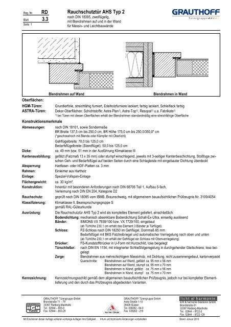 RD 3.3 Rauchschutztür AHS Typ 2 - Grauthoff