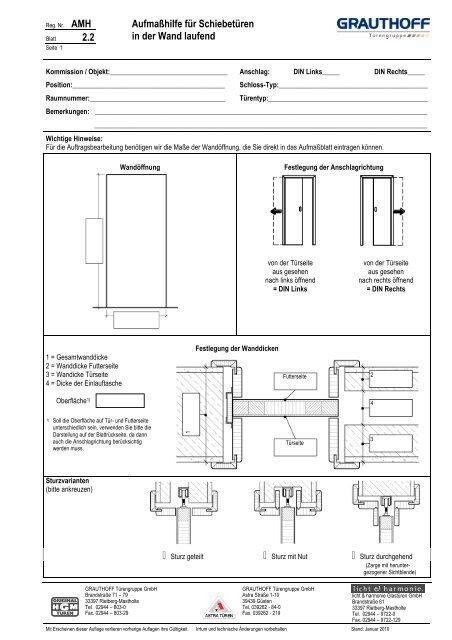2.2 Aufmaßhilfe für Schiebetüren in der Wand laufend - Grauthoff