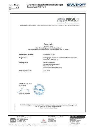 4.2 Allgemeines bauaufsichtliches Prüfzeugnis - Grauthoff