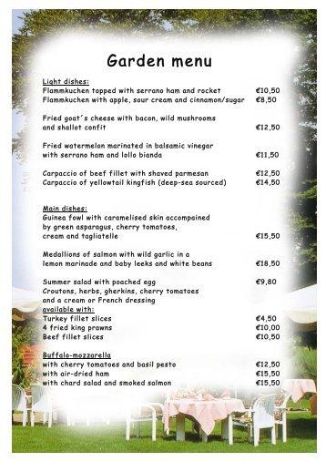 Garden menu . - Romantik Hotel Gravenberg
