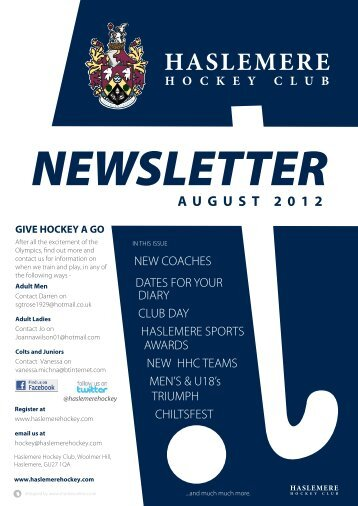 Haslemere Hockey Club August 2012 Newsletter (1.4m) - Grayshott
