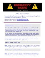 Virtual PC versus VMware - Gibson Research Corporation