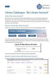 Library Catalogue: 'My Library Account' - University of Greenwich