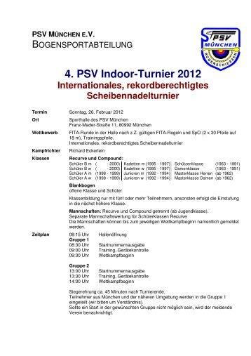 Anmeldung zum 4. PSV Indoor-Turnier 2012 - BSC Hohenraunau ev