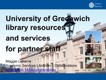University of Greenwich library resources and services for partner staff