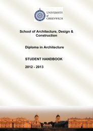 Diploma in Architecture Handbook - University of Greenwich