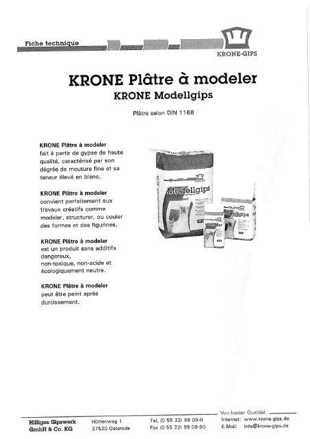 KRONE Plâtre à modeler - Gerstaecker