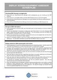 DSE Assessor Action Plan