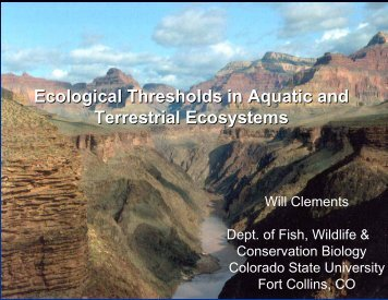 Ecological Thresholds in Aquatic and Terrestrial Ecosystems