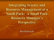 Integrating Science and Resource Management at a Small Park: A ...