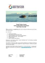 Visitor Information Consultant- Advertisement - Lake Taupo
