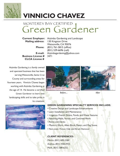 Vinnicio Chavez The Monterey Bay Green Gardener Program