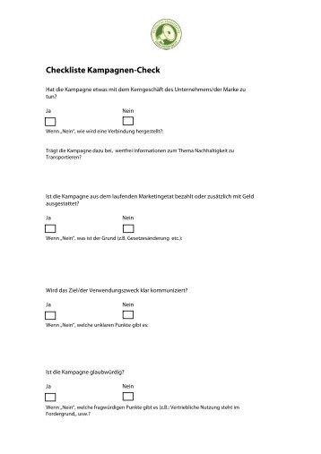Checkliste Kampagnen-Check - Green Responsibility