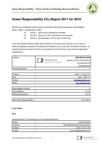 Report 2011 für 2010 – Deichblick - Green Responsibility