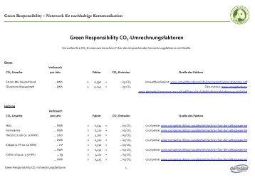 Green Responsibility CO2-Umrechnungsfaktoren