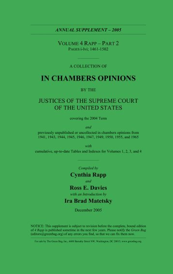 In Chambers Opinions - 4 Rapp pt - The Green Bag