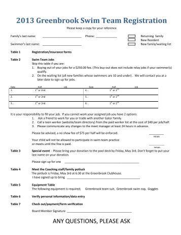 Fall Winter 2013 14 Swim Lesson Registration Form Homewood