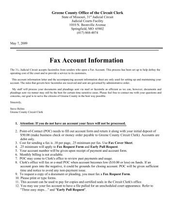 Fax Account Information - Greene County, Missouri