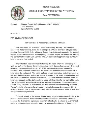 news release greene county prosecuting attorney dan patterson