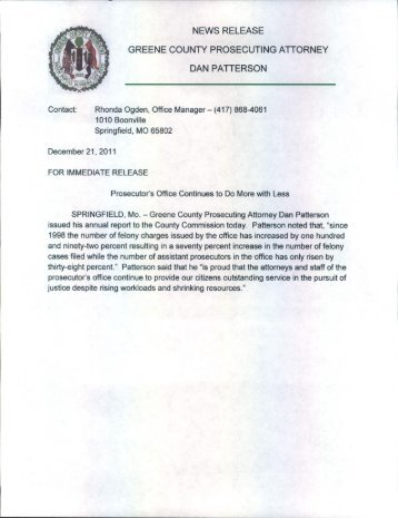 news release greene county prosecuting atiorney dan patierson