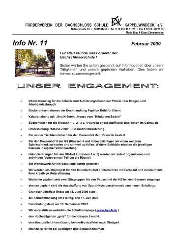 Info Nr. 11 Februar 2009 - Bachschloss-Schule