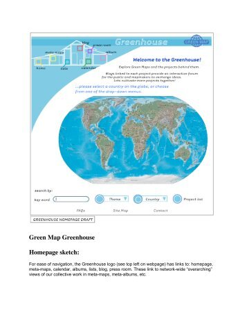 Green Map Greenhouse Homepage sketch: - Green Map System
